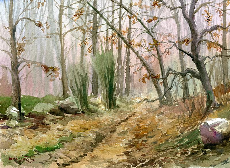 Robledal en otoño / Oak forest in autumn / Quercus - Acuarela / Watercolour - © Lucía Gómez Serra