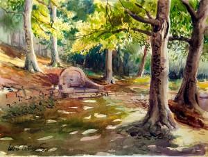Fuente de la teja - Acuarela / Watercolour - © Lucía Gómez Serra