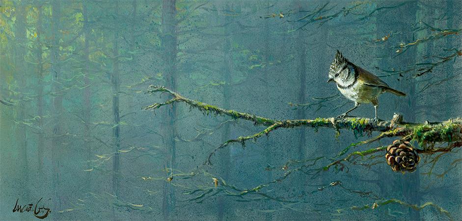 Herrerillo capuchino / Crested tit / Lophophanes cristatus - Pintura al óleo sobre tabla de madera / Oil painting on wood - © Lucía Gómez Serra