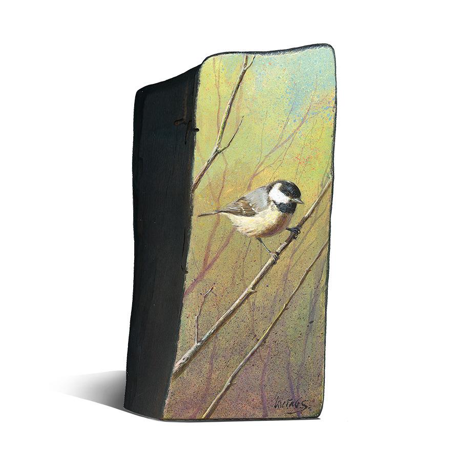 Carbonero garrapinos / Coat tit / Periparus ater – Acrílico sobre tabla de madera / Acrylic painting on wood – © Lucía Gómez Serra