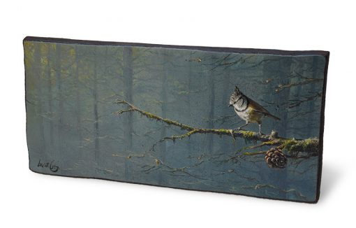 Lophophanes cristatus / Herrerillo capuchino / Crested tit - Óleo sobre tabla de madera de sapeli / Oil painting on sapele wood - 36,5 x 17,5 x 2 cm - © Lucía Gómez Serra