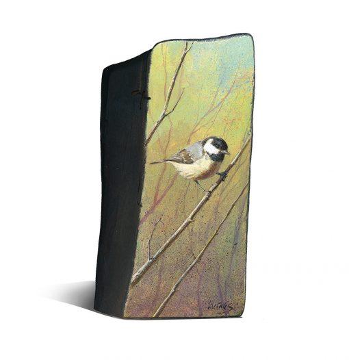 Periparus ater / Carbonero garrapinos / Coat tit - Obra realizada en acrílico sobre bloque de madera / Acrylic painting on wood - © Lucía Gómez Serra