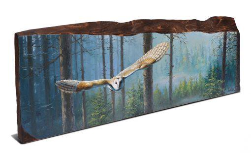 Tyto alba / Lechuza común / Barn olw - Obra realizada al óleo sobre bloque de madera de cerezo / Oil painting on cherrywood - 61 × 22,5 × 2,5 cm - © Lucía Gómez Serra