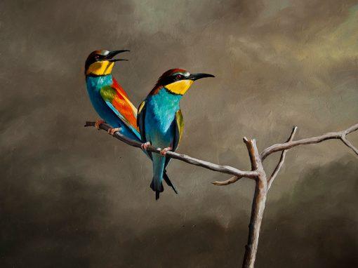 Abejaruco europeo / European bee-eater / Merops apiaster – Óleo / Oil painting – © Lucía Gómez Serra
