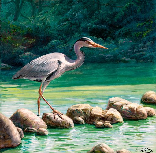 Garza real / Grey heron / Ardea cinerea – Acrílico sobre lienzo y bastidor 3D / Acrylic painting on canvas – 30,2 x 30,2 x 3,9 cm – © Lucía Gómez Serra