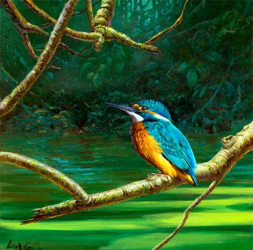Martín pescador común / Common kingfisher / Alcedo atthis – Acrílico sobre lienzo y bastidor 3D / Acrylic painting on canvas – 30,2 x 30,2 x 3,9 cm -© Lucía Gómez Serra