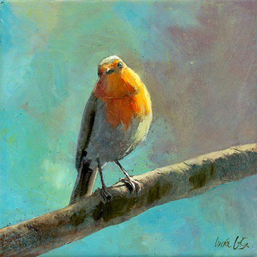 Petirrojo europeo / Robin / Erithacus rubecula – Óleo sobre lienzo y bastidor 3D / Oil painting on canvas – 15 x 15 x 3,5 cm -© Lucía Gómez Serra