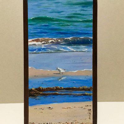 Correlimos común / Dunlin / Calidris alpina -Obra realizada al óleo sobre bloque de madera / Oil painting wood - © Lucía Gómez Serra