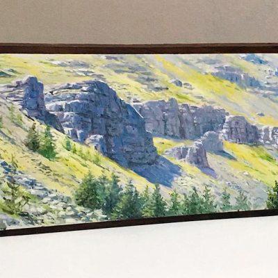 Moncayo - Obra realizada al óleo sobre bloque de madera / Oil painting wood - © Lucía Gómez Serra